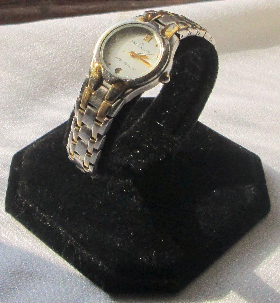 ANNE KLEIN 2-TONE Gold & Silver LADIES DATE WRIST WATCH, 775H Water Resistant #AnneKlein #Fashion
