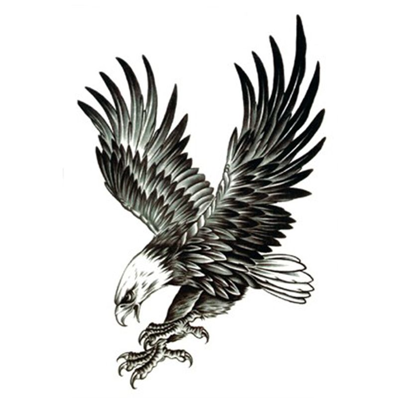 12 Best Eagle Tattoo Images And Designs Ideas: Attractive Black Ink Flying Eagle Tattoo Design