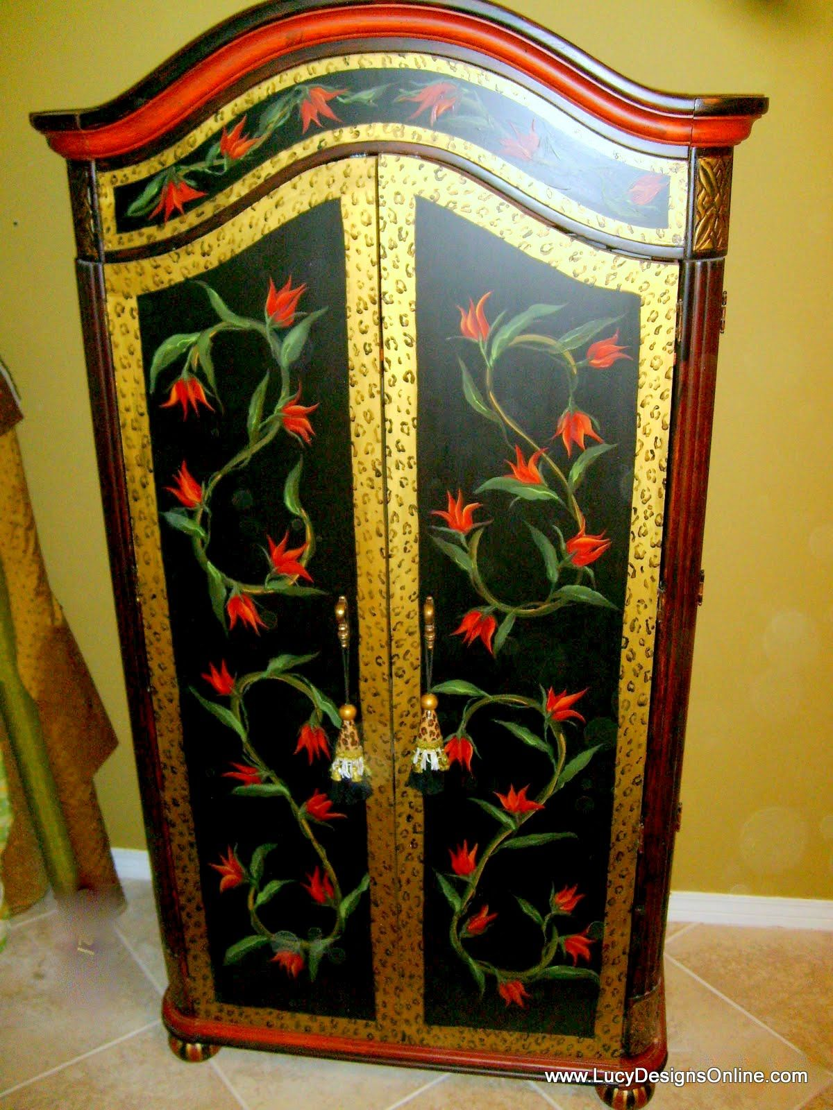 Hand Painted Floral Armoire And Diamond Harlequin Pattern Armoire