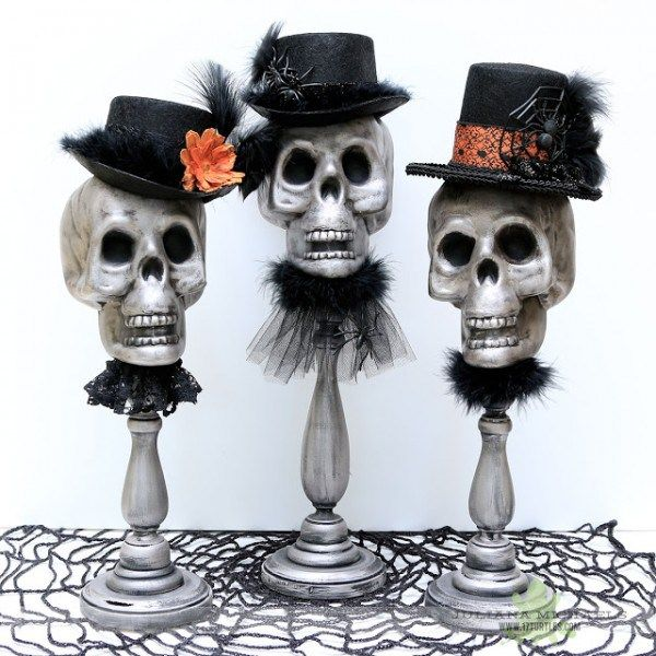 How to make skull candle stick Halloween decorations \u2013 Halloween - skull halloween decorations