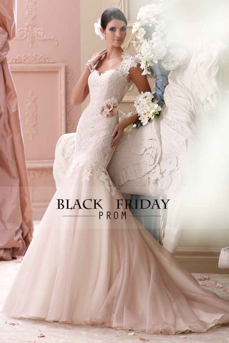 Blush mermaid wedding dress   Mermaid Wedding Dresses Organza With Applique And Handmade