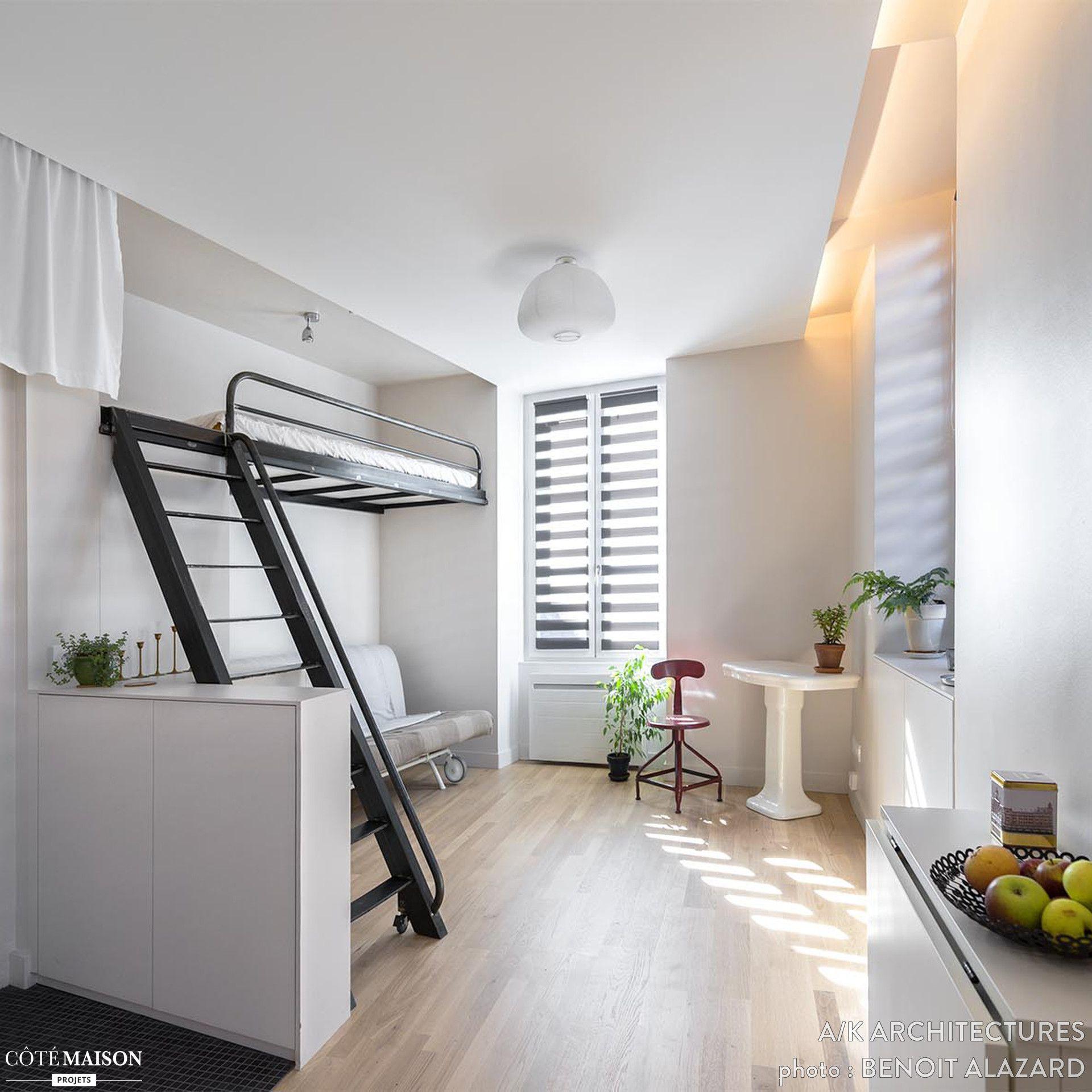 un studio de 18 m hyper fonctionnel et design challenge r ussi id es studio pinterest. Black Bedroom Furniture Sets. Home Design Ideas