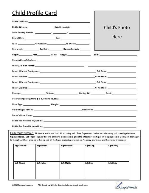 Profile Pictures For Kids : profile, pictures, Child, Profile, Printable, Document, Download, Opening, Daycare,, Starting, Daycare, Forms