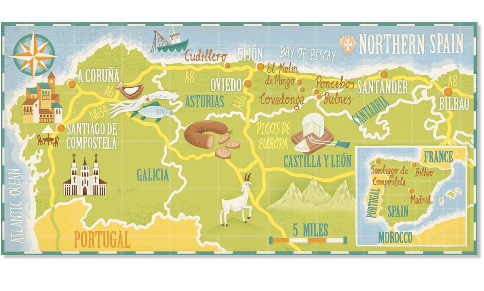 North Of Spain Map.Stuart Kolakovic Map Of North West Spain For Lonely Planet