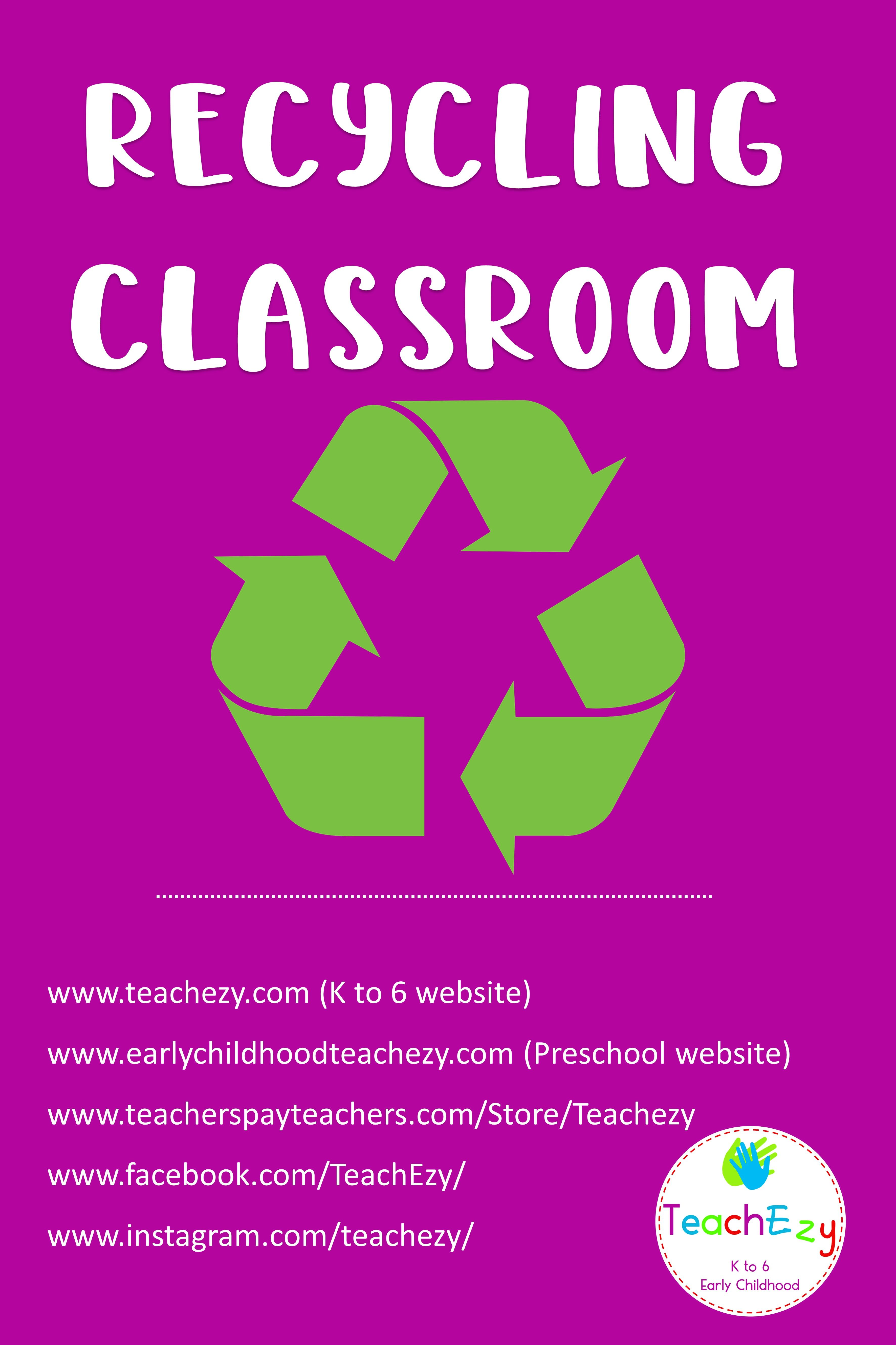 Pin By Teachezy On Recycling Classroom