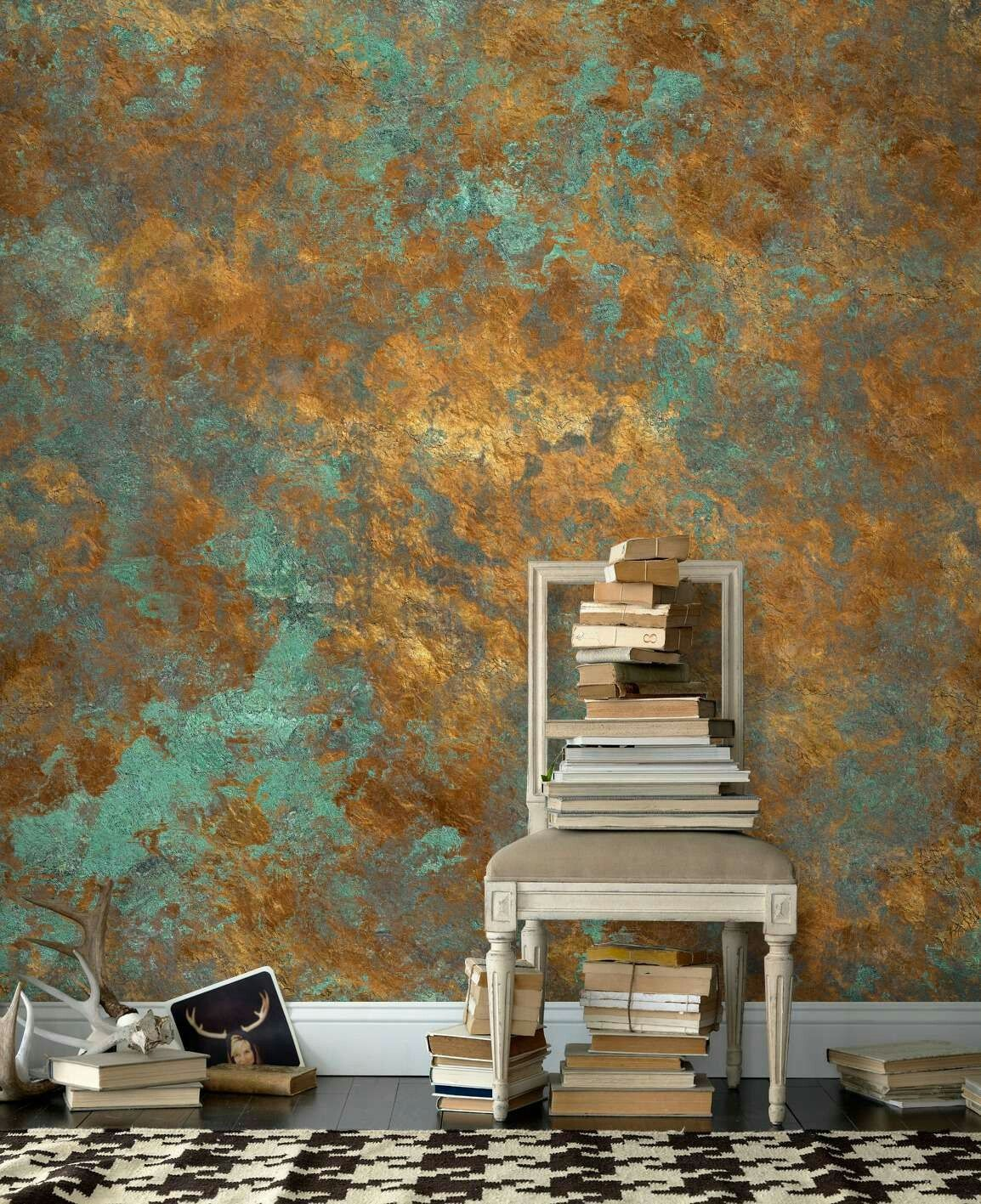 Indoor Wall Painting Ideas: Blue Plaster With Gold Leaf In 2019