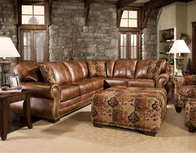 Corinthian Nubock Saddle Traditional Sectional Sofa w/ Nailhead Accents : traditional leather sectional - Sectionals, Sofas & Couches