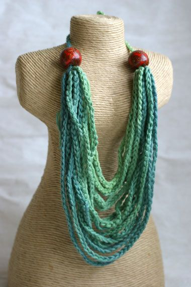 Crochet  layered multi chain statement necklace by marryg on Etsy, $25.00