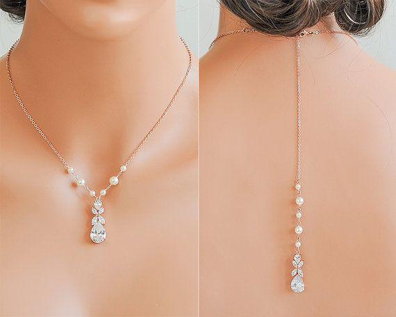 Brautschmuck gold perlen  Rose Gold zurück Drop Braut Halskette Kulisse von GlamorousBijoux ...