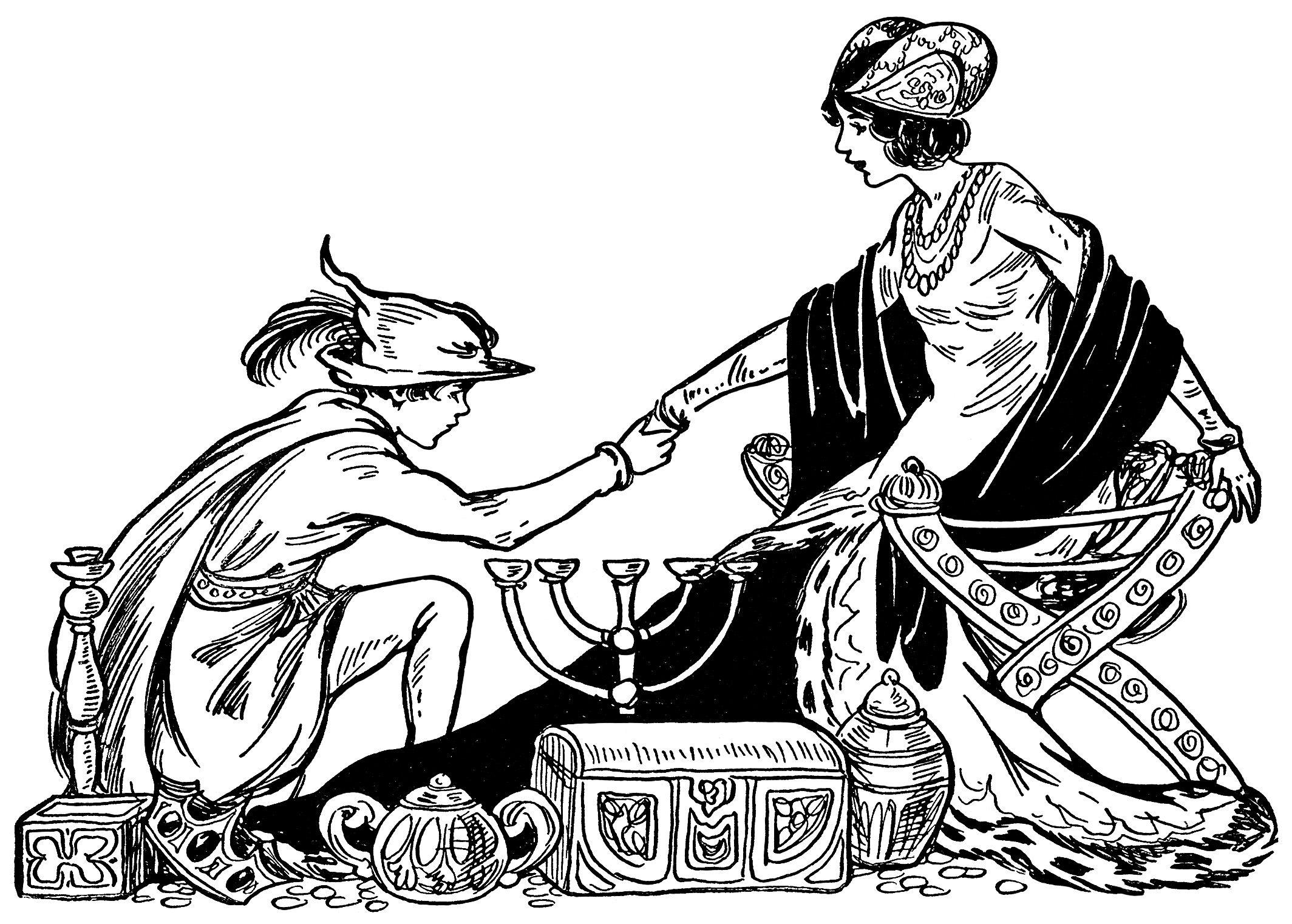 Fairytale Princess Vintage Storybook Clip Art