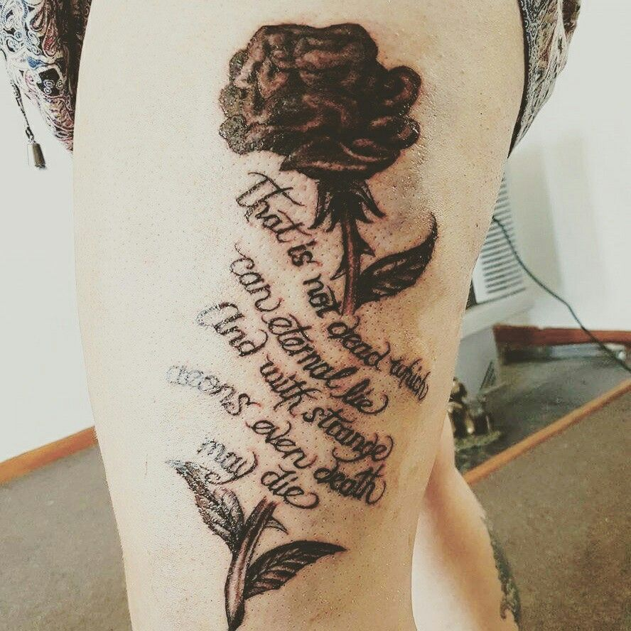 Gothic Black Rose Tattoo. Quote From Hp Lovecraft #tattoo