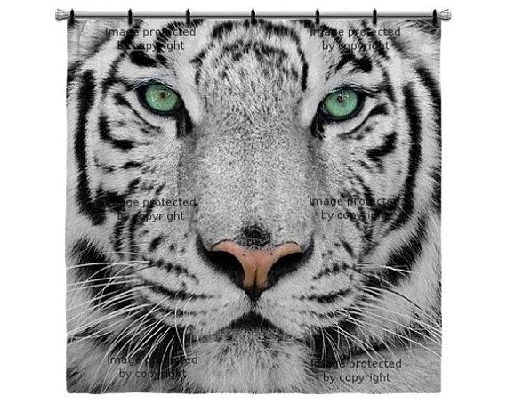 White Tiger Shower Curtain Tiger Photography Animal Spirit