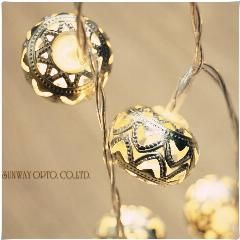 20led Battery Operated Silver Moroccan Orb LED Fairy String Lights Patio  Wed Party Christmas Lights Bedroom