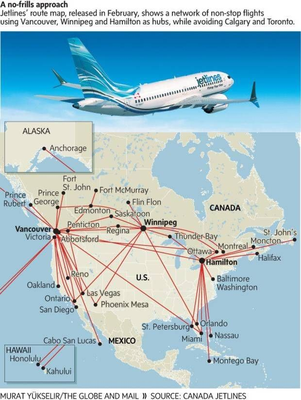 Canada Jetlines Route Map Low fuel prices buoy hopes at discount start up Canada Jetlines