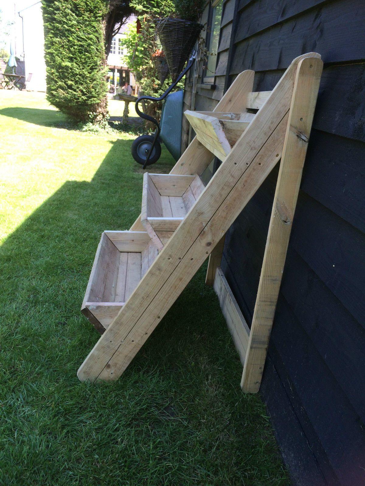 Wooden plant stand 3 tier trough garden strawberry herb flower planter
