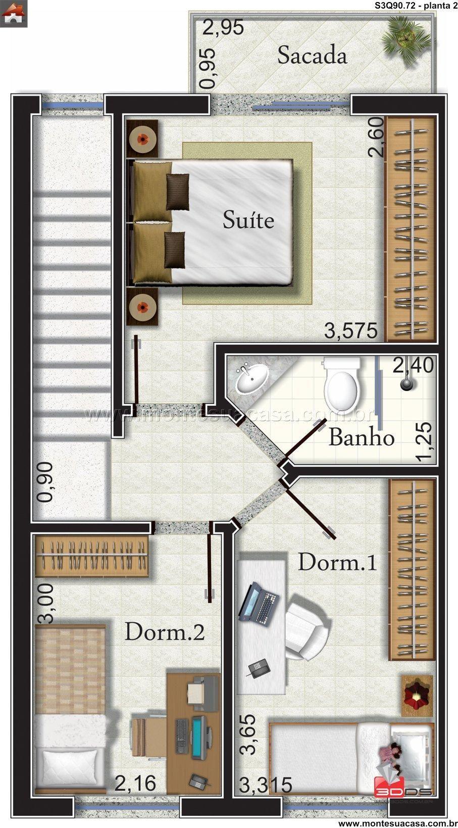 Sobrado 3 quartos construindo pinterest for Fotos de casas pequenas de dos plantas