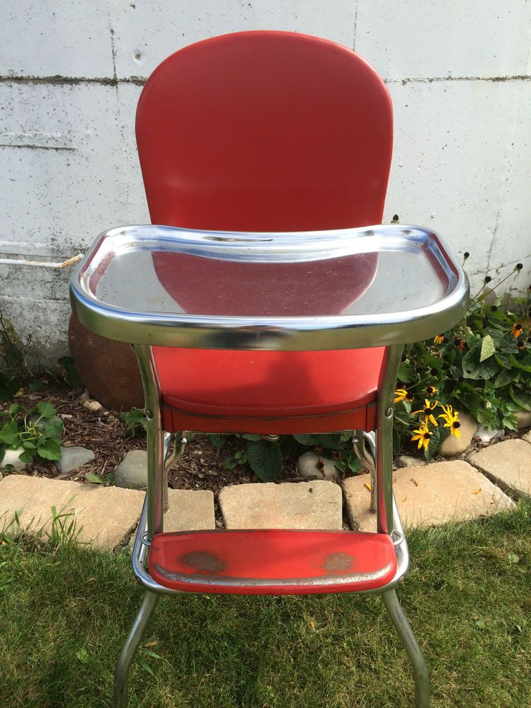 Vintage Cosco High Chair Red Chrome Legs Metal Stainless ...