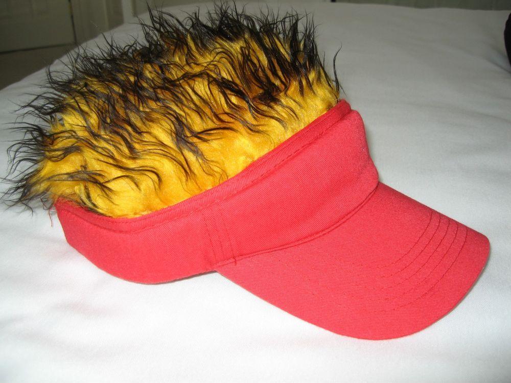 NFL Kansas City Chiefs Fans - Crazy Hair Hat Visor - Red Visor Gold Hair -  NEW  Unbranded  KansasCityChiefs ef5a54de5dd2