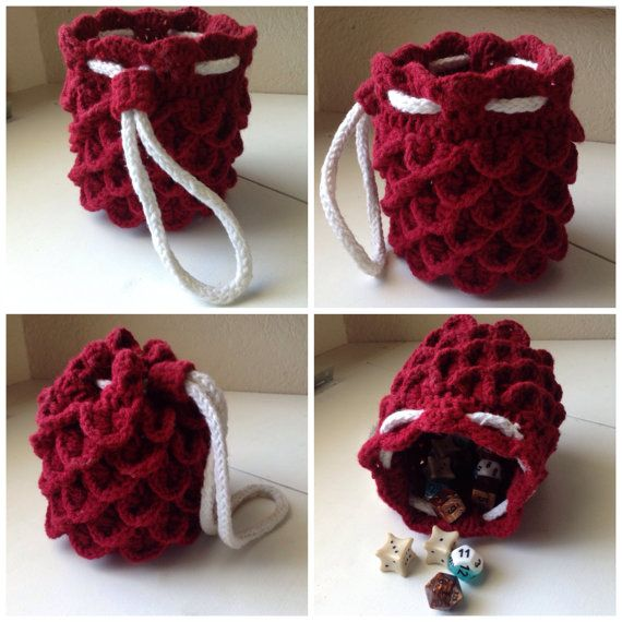 Crochet Dragon Hide Dice Bag - Red/White | Gimme!!!! | Pinterest ...