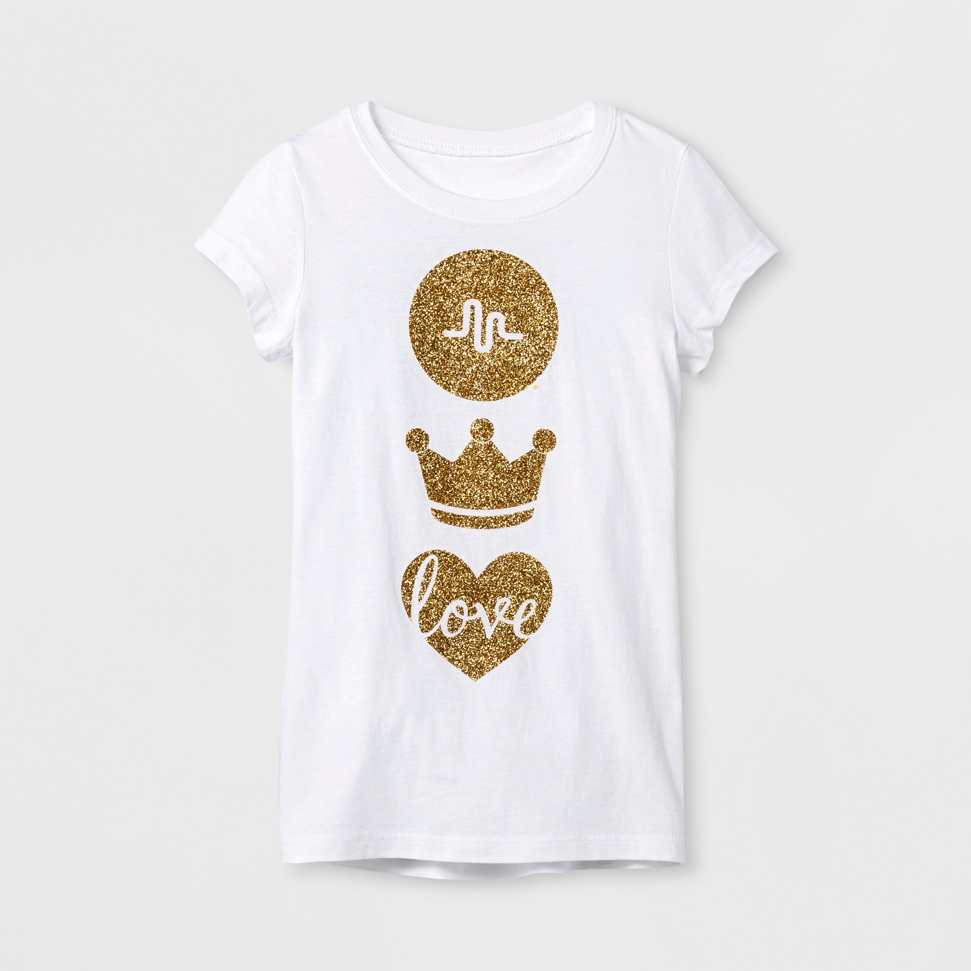 b7560f4b0815 Girls' musical.ly Crown Love Graphic Short Sleeve T-Shirt - White L