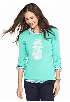 crown & ivy™ Petite Crew Neck Pineapple Sweater - Belk.com