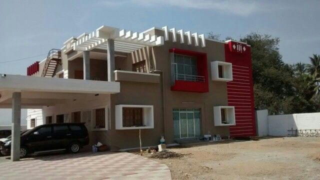 Exterior Colors · Final Look Of Tropical Tan With Red N White Giving New  Angle To The Elevation