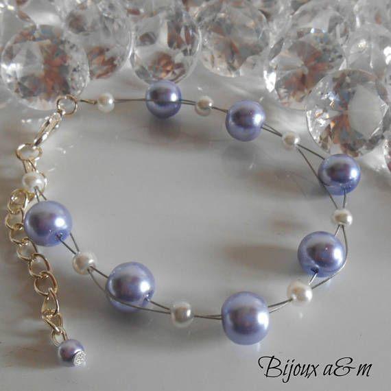 Giro de matrimonio pulsera de perlas blancas y lavanda