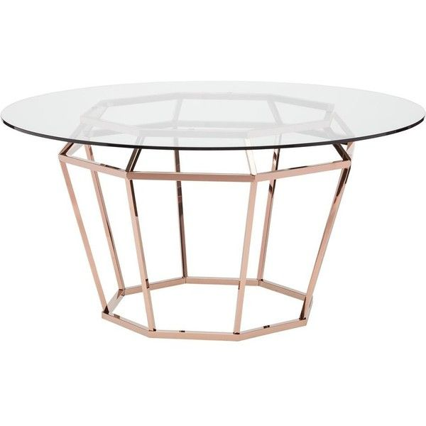 Marilyn Modern Glass Rose Gold Diamond Base Dining Table 59D ($1,885) ❤ liked on Polyvore featuring home, furniture, tables, dining tables, glass kitchen tables, modern home furniture, diamond furniture, glass table and diamond table