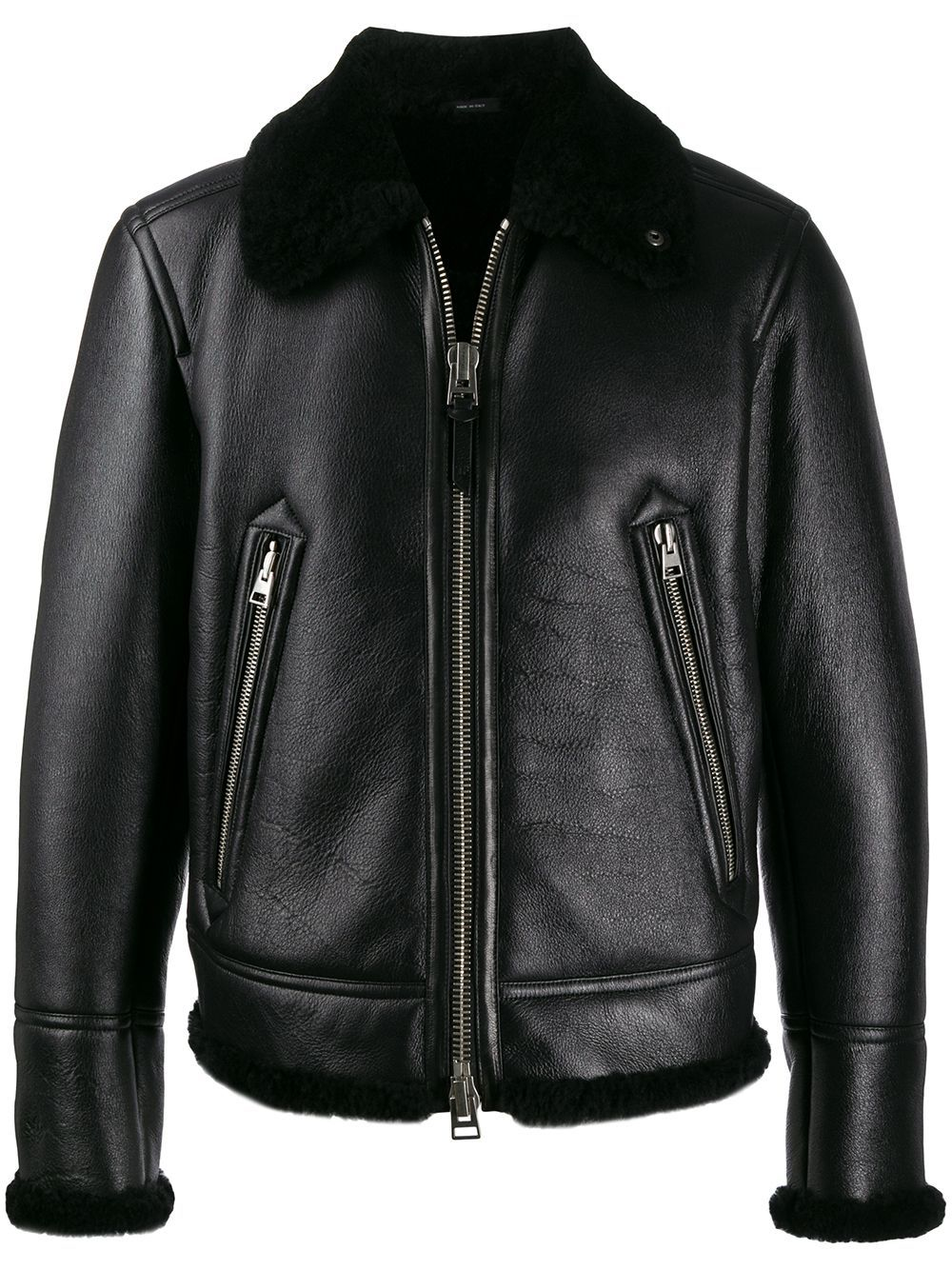 Tom Ford Wool Lined Leather Jacket Farfetch Leather Jacket Black Leather Jacket Tom Ford [ 1334 x 1000 Pixel ]