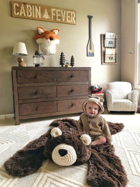 Kinderzimmer Teppich / regelmäßige Größe Schokolade Bär