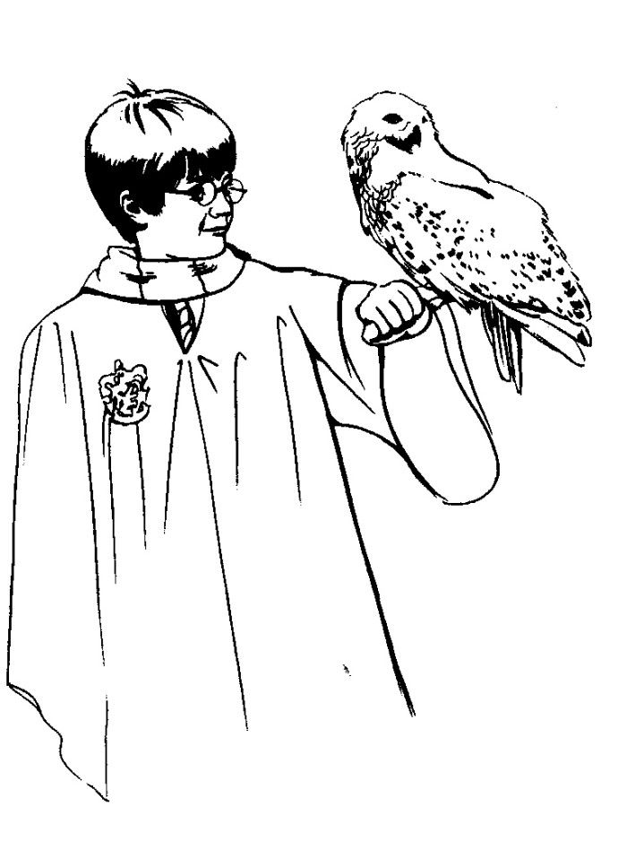 Harry Potter With Owl Coloring Pages - Harry Potter Coloring Pages ...
