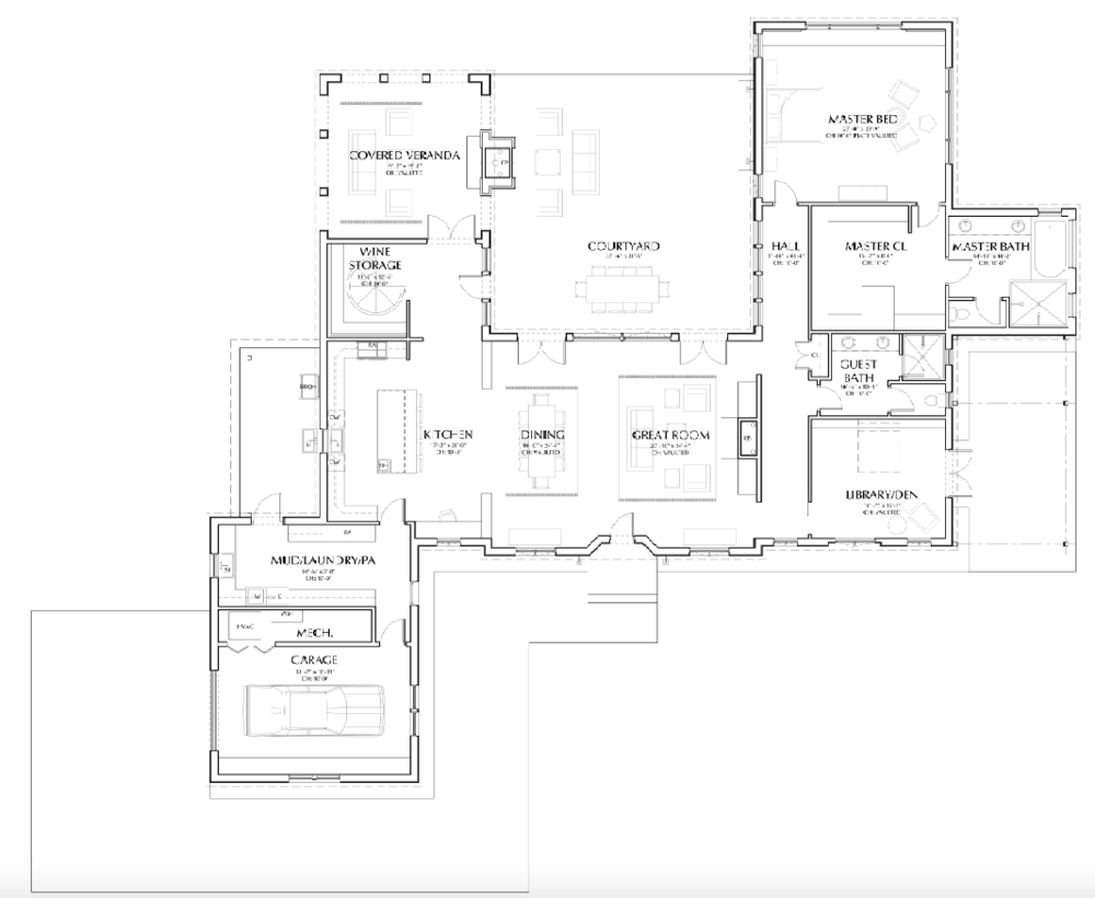 The final floor plan has room titles and sizes as well as furnishings in place. This helps clients see the relationships between spaces at a glance.