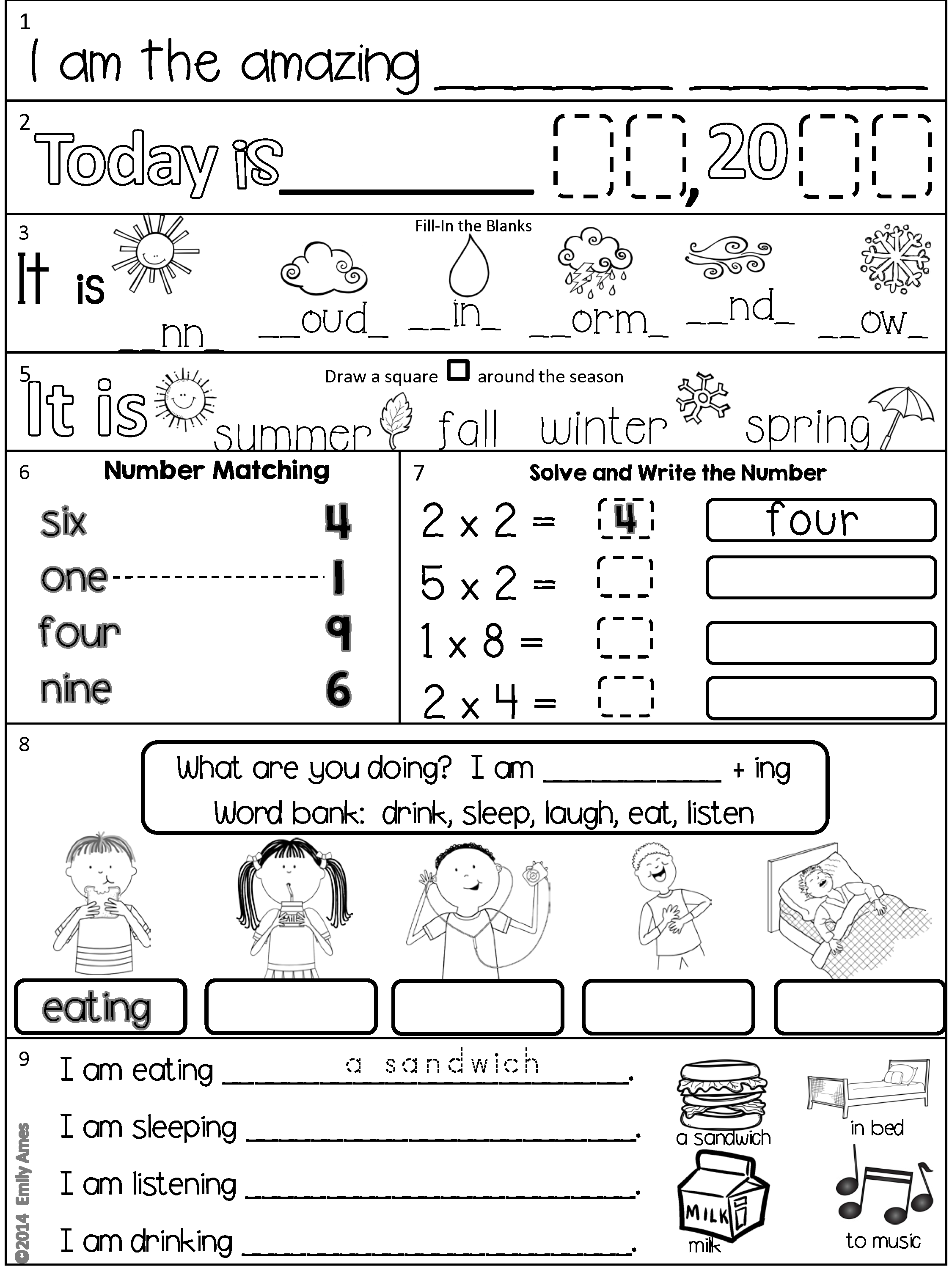 Esl Daily Work Packet 1 Addition And Subtraction