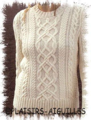 modele tricot pull irlandais gratuit