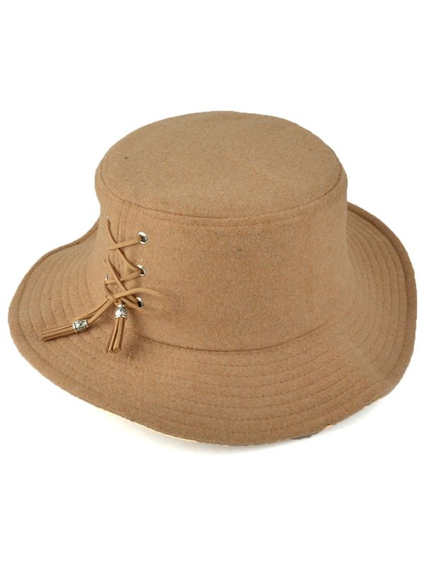 Tassel Lace-Up Felt Bucket Hat