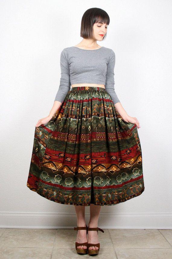 67330f182459 Vintage Boho Skirt Midi Skirt Tribal Print Skirt Music Festival Bohemian  Skirt 1980s 80s Earth Tones Striped Hippie Skirt S M Medium L #vintage  #etsy #80s ...