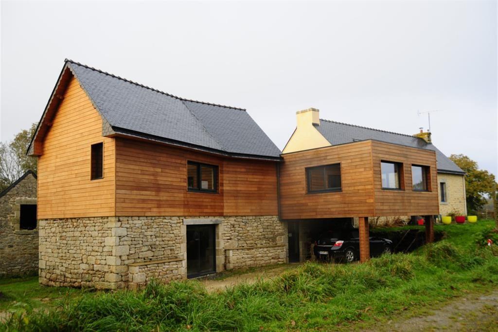 Extension ossature bois d 39 une maison d 39 habitation for Bardage bois maison ancienne