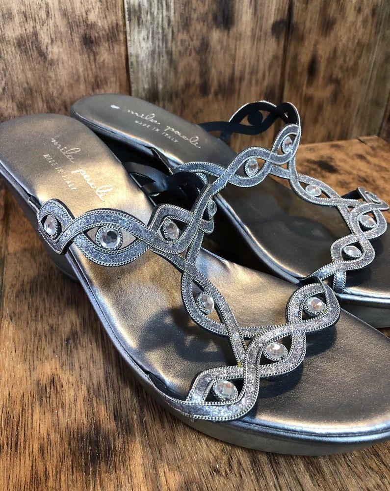 33cfbbb8b66d Mila Paoli Sz 8 Silver Wedge Sandals Rhinestones Dressy