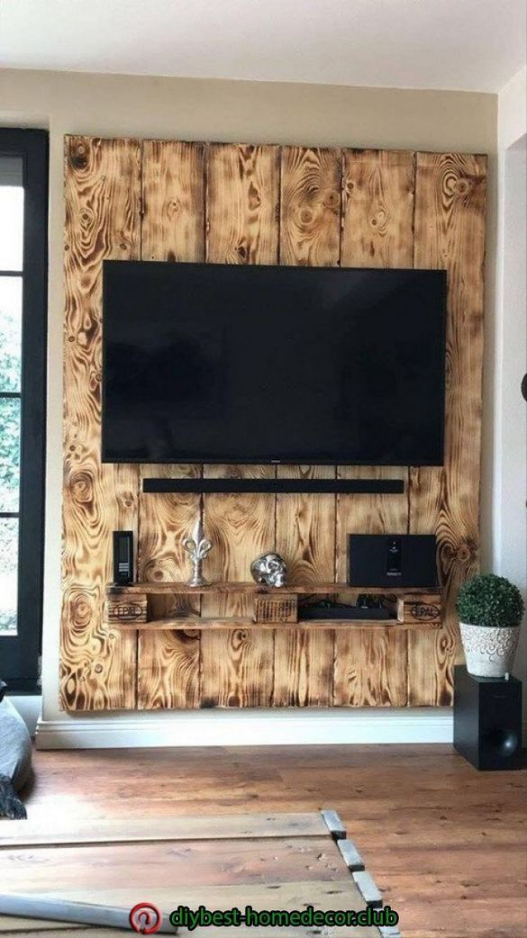40 Best Rustic Tv Wall Decor Idea For Living Room Design Tv Wall Decor Home Design Decor Tv Wall