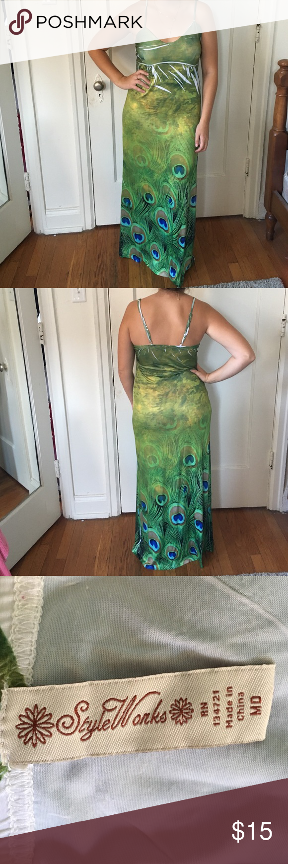 Peacock maxi dress Long maxi dress with peacock pattern, comfortable and flattering Dresses Maxi