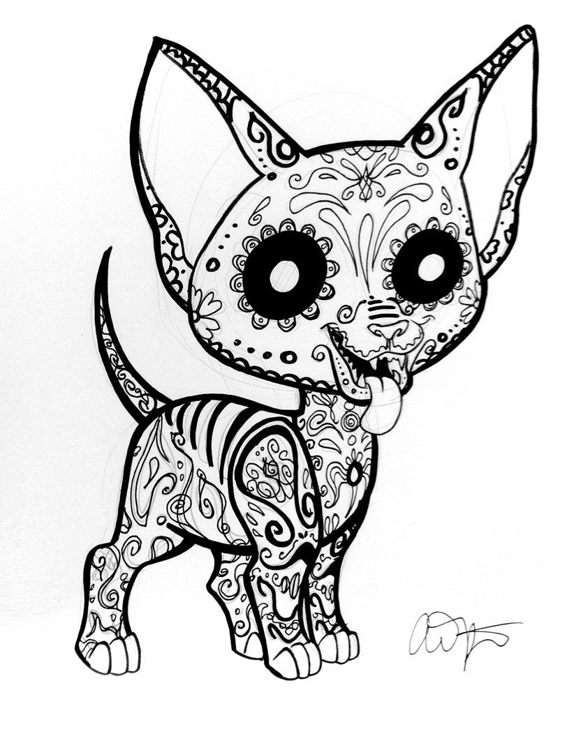 Day Of The Dead Coloring Pages Dogs Skull Coloring Pages