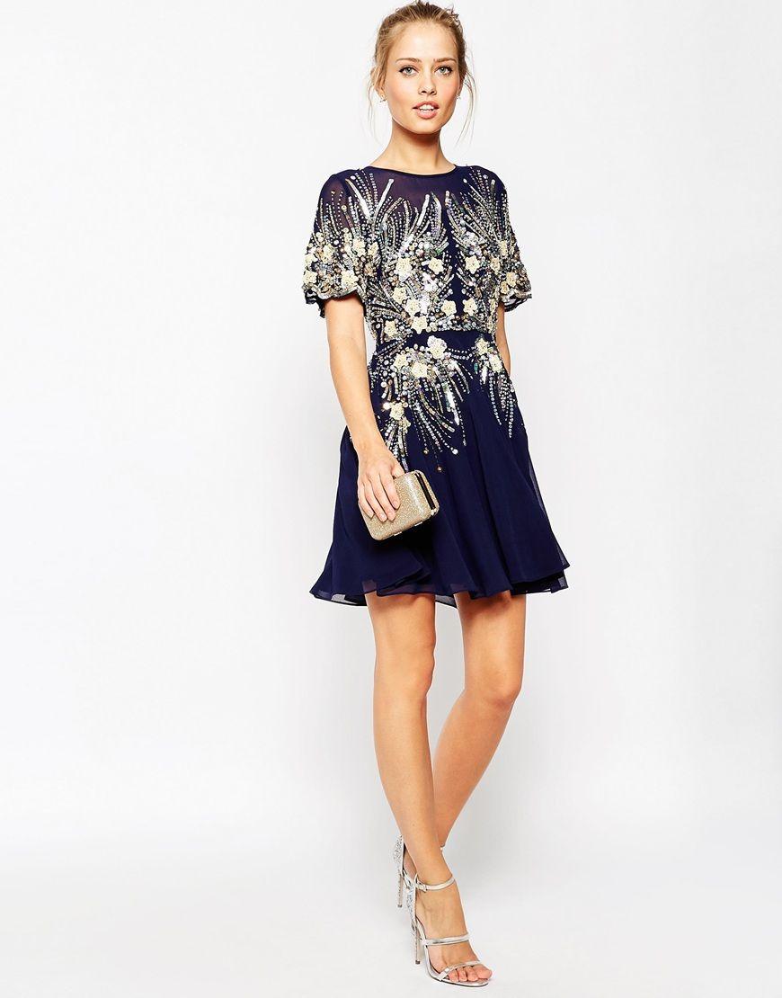 Image 4 of ASOS Gold And Navy Sparkle Mesh Skater Dress | Dresses ...