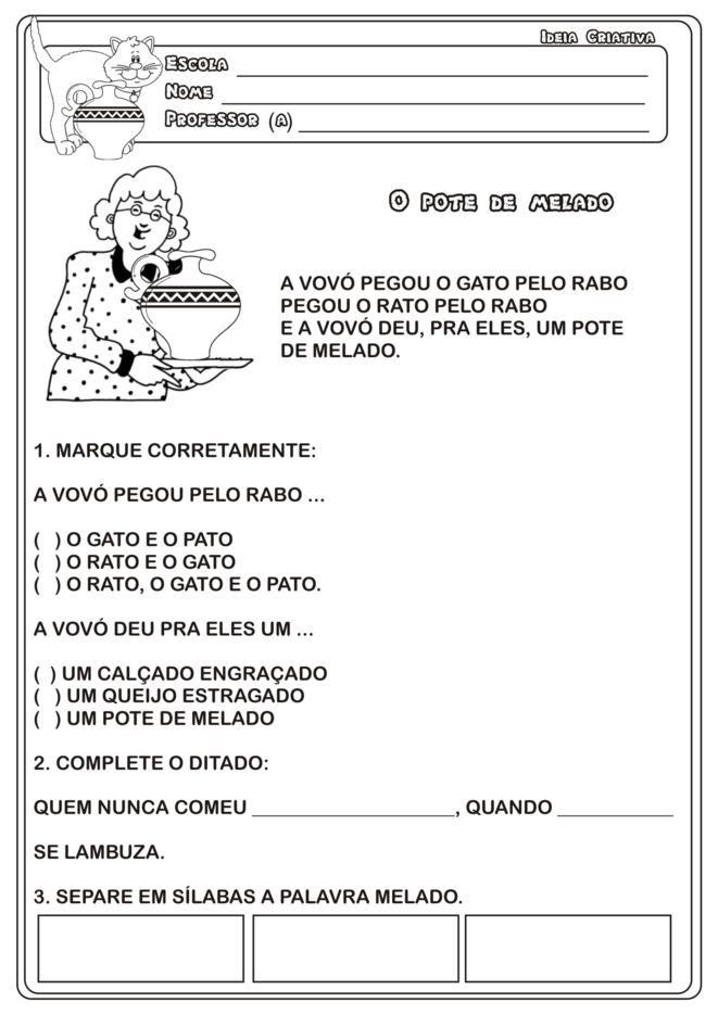 Sequencia Didatica O Pote De Melado Da Obra De Eliardo E Mary