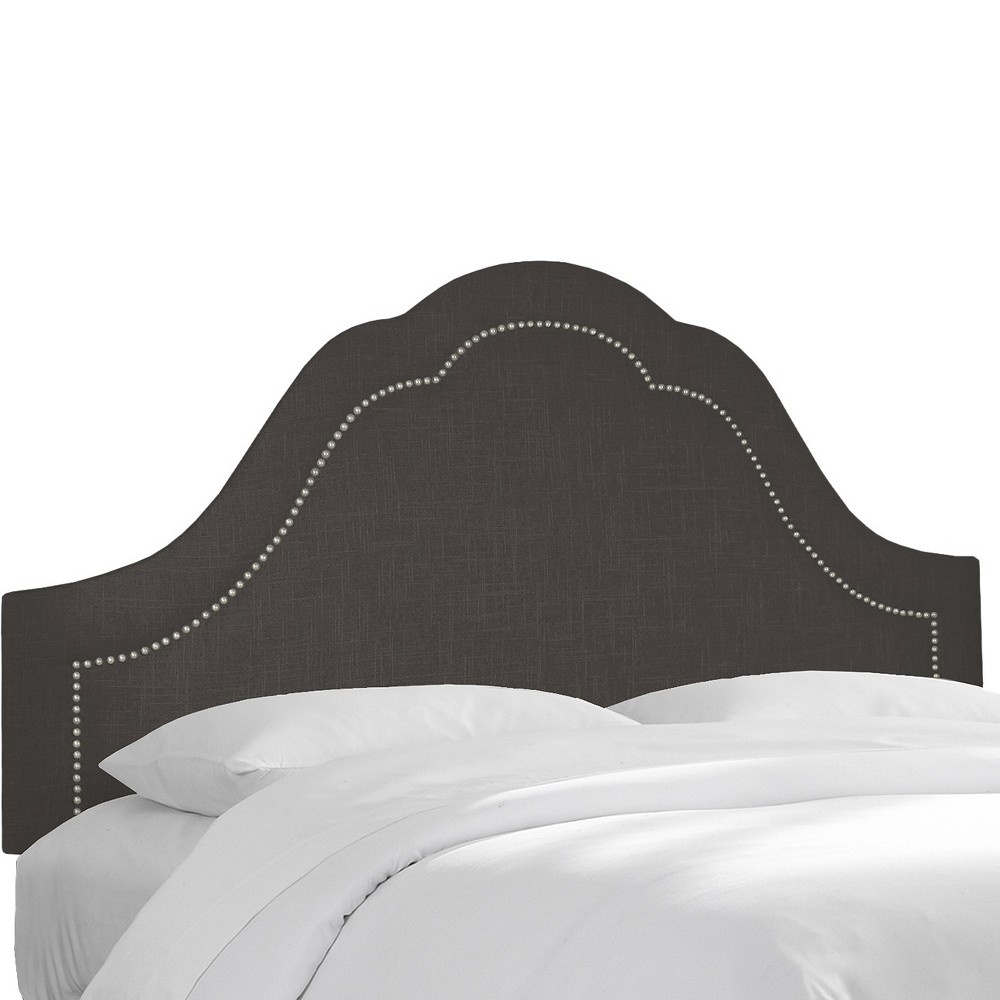 Skyline custom upholstered arch inset nail button headboard california king skyline furniture