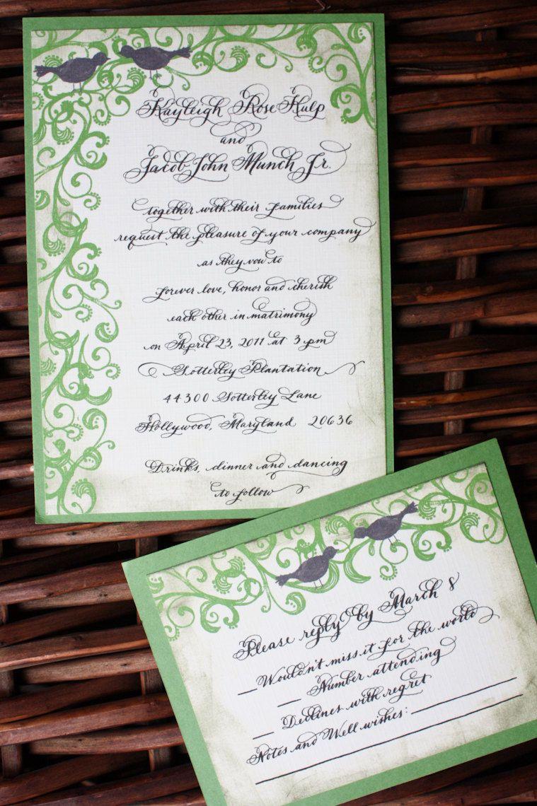 Vintage Calligraphy Wedding Invitation with hand illustrated swirl ...