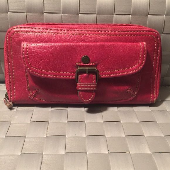 Wallet Cute red/pink wallet. Faux leather. Matches closely with foldover purse listed. In good condition. Bags Wallets