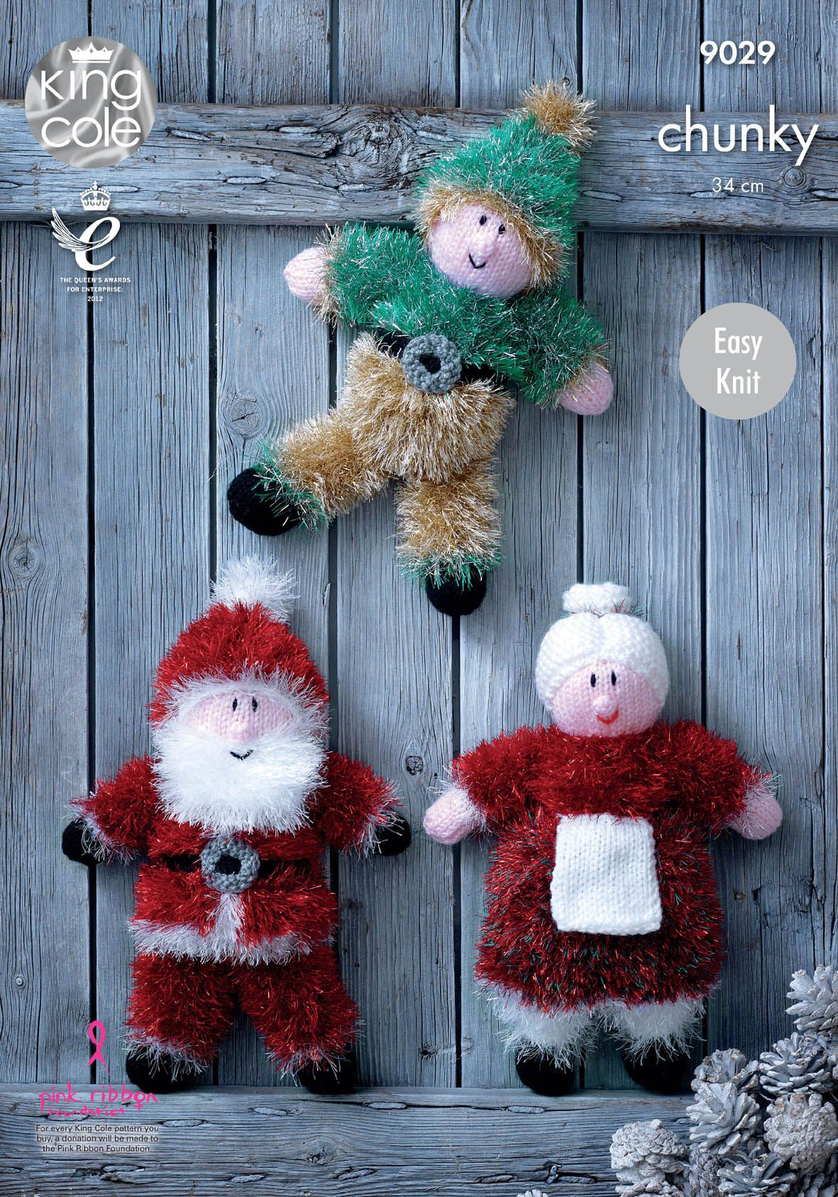 Knitted Christmas decorations Knitted Santa, Elf and Mrs Claus ...