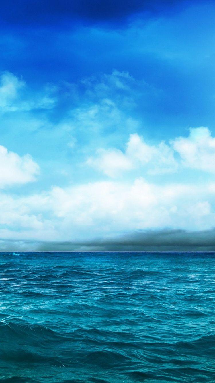 Ocean Blue Sky Storm Approaching iPhone 6 Wallpaper Blue