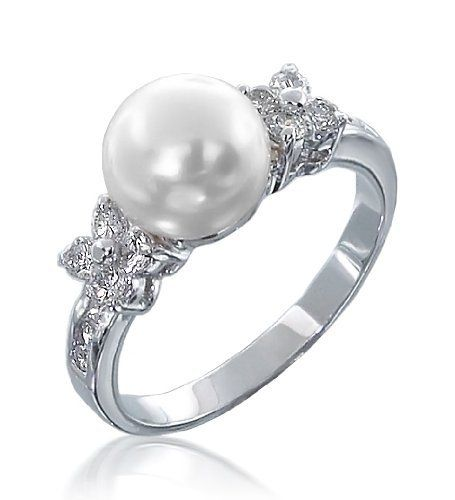 Bling Jewelry Flower Cz Pearl Engagement Ring Size 6 Lusciously Our Diamond Is That Inexpensive You