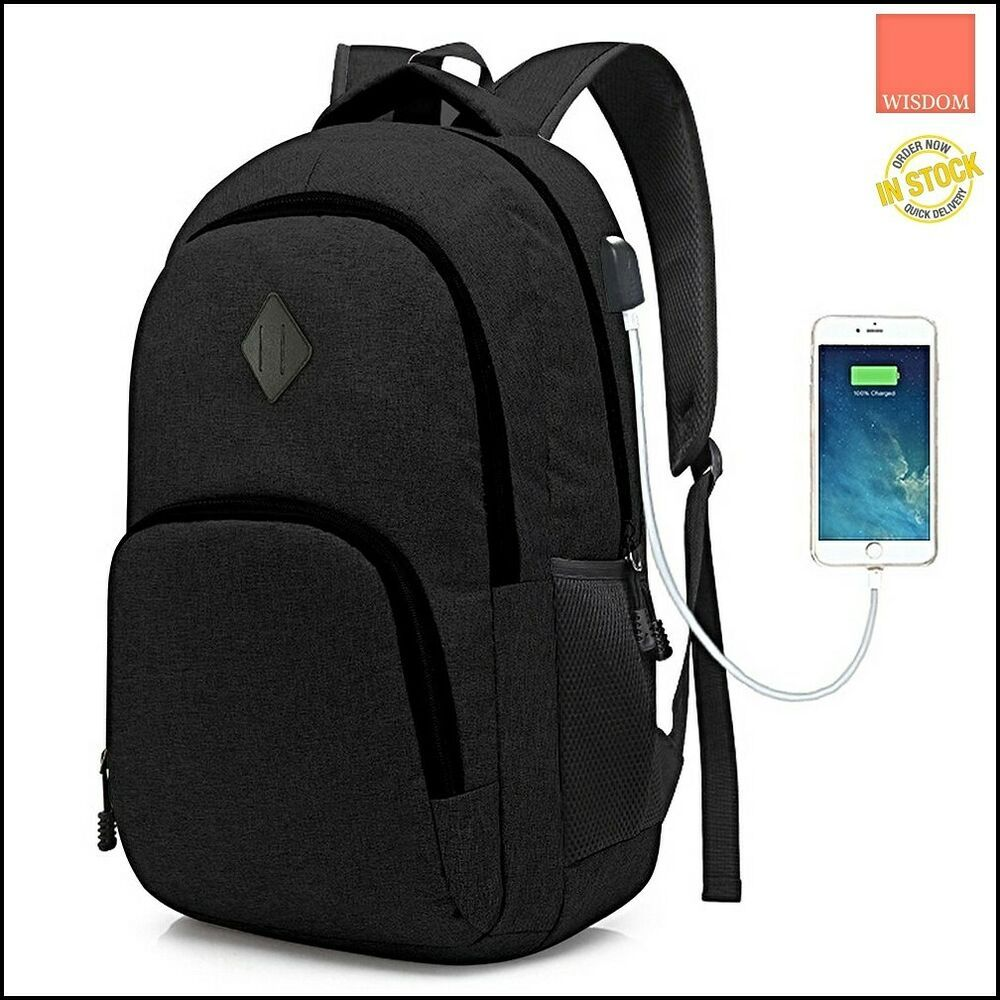 d87f78c8213e Laptop College Backpack with USB Charging Port Waterproof ...